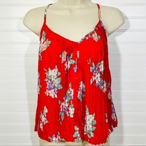 Kimchi Blue (UO) Red Floral Pleated Tank Top EUC